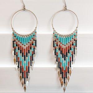 Fabulous Turquoise Beaded Boho Chandelier Earrings